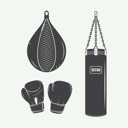 artes marciales mixtas: Boxeo y artes marciales logo insignias, etiquetas y elementos de diseño de estilo vintage. Ilustración vectorial
