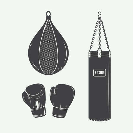 thai martial arts: Boxing and martial arts logo badges, labels and design elements in vintage style. Vector illustration