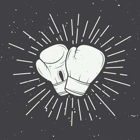 boxeador: Guantes de boxeo en el estilo vintage. Ilustración vectorial