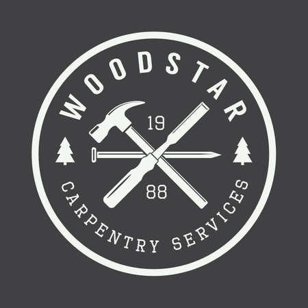herramientas de carpinteria: Carpinter�a de la vendimia y etiqueta vector mec�nico, emblema y logotipo