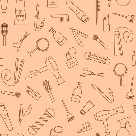 haircutter: CareBeauty seamless vector pattern. Barber shop icons.