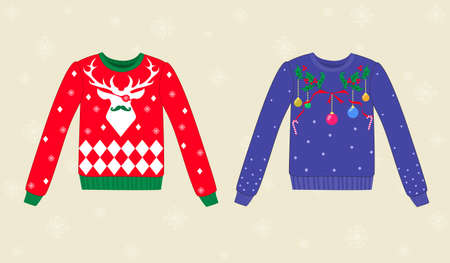 christmas parties: Set of christmas ugly vector sweaters,