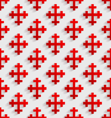 rood: White seamless pattern with red crosses. Vector illustration Illustration