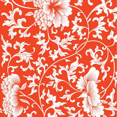 flores chinas: El modelo en fondo rojo con flores chinos. ilustración vectorial Vectores