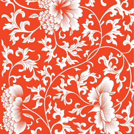 Pattern on red background with chinese flowers. Vector illustration