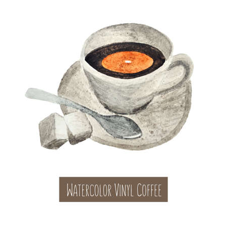 black coffee: Watercolor hand drawn cup of coffee illustration Illustration
