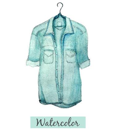 수채화 손으로 흰색 배경에 고립 된 블루 데님 셔츠를 그립니다. 벡터 일러스트 레이 션