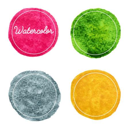 Set of multicolor watercolor hand drawn circles vector background Vettoriali