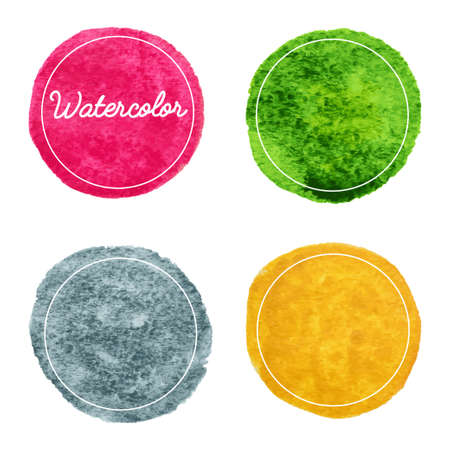 Set of multicolor watercolor hand drawn circles vector background Vettoriali