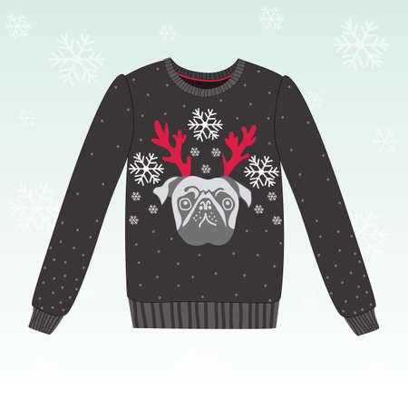 Śliczne wektor zima sweter z psem, EPS 10