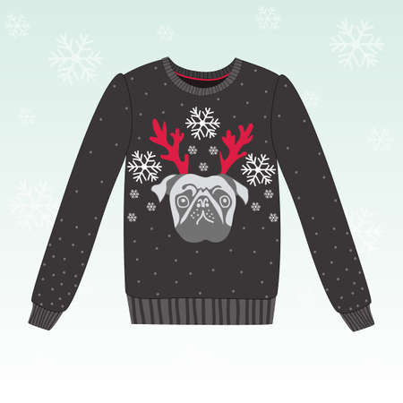 holiday pets: Cute winter vector sweater with dog, eps 10