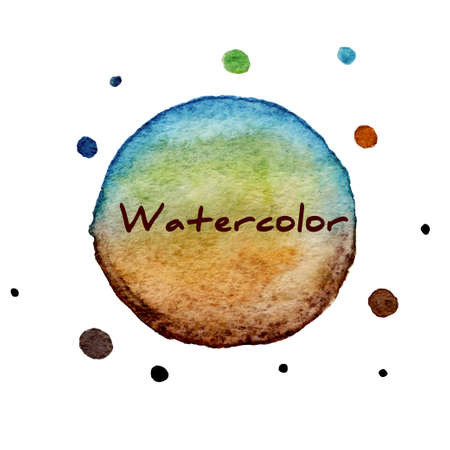 green brown: Multicolor watercolor hand drawn circles vector background Illustration