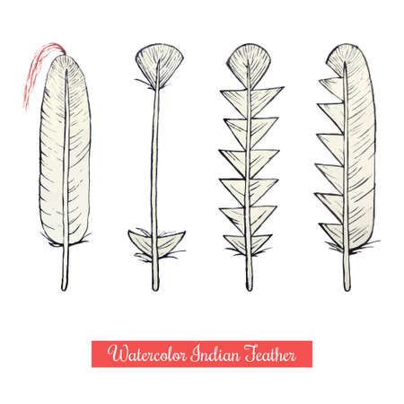 war paint: Collection of watercolor hand draw native american war vector feathers