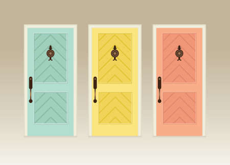 old wooden door: Illustration of three colorful front vector doors Illustration