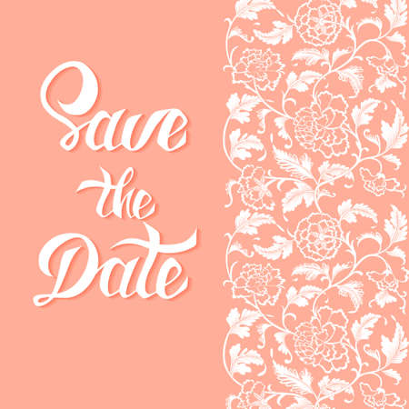 antique asian: Save the Date vector card template with handdrawn unique typography design element for greeting cards, posters and print invitations and antique asian flower ornamental pattern Illustration