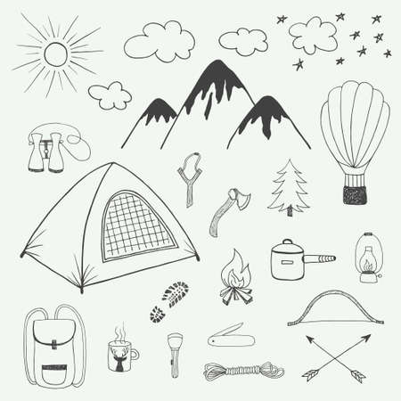 backpack: Adventures hand drawn vector doodle set in vintage style Illustration