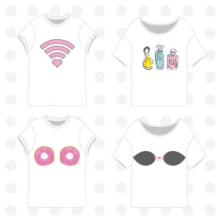 brassiere: T-shirts templates vector set with prints, eps 10