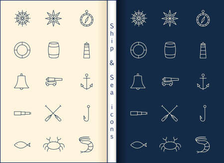 nautical: Ship Sea line icons set Illustration