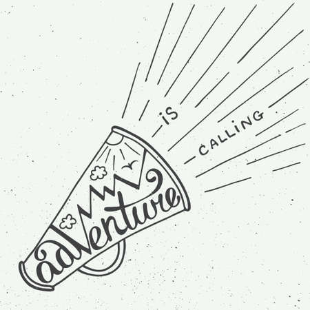 mouthpiece: Vector card with hand drawn unique typography design element for greeting cards and posters. Adventure is calling in mouthpiece with mountains in vintage style Illustration