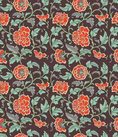 Chinese background with flowers. Seamless ornamental antique pattern.