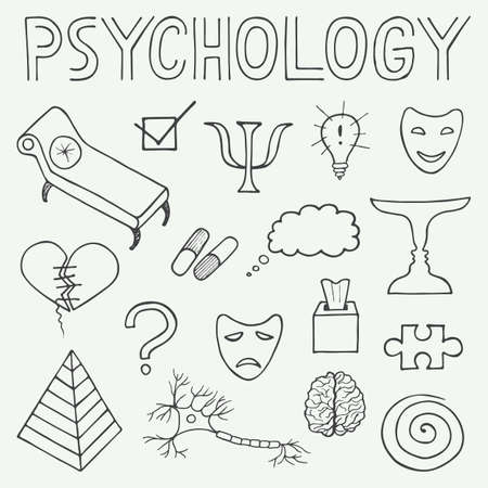 counseling: Psychology hand drawn doodle set and typography in vintage style Illustration