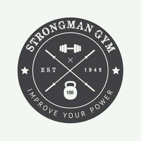 Vintage gym logo, badge or emblem. Vector illustration Illustration