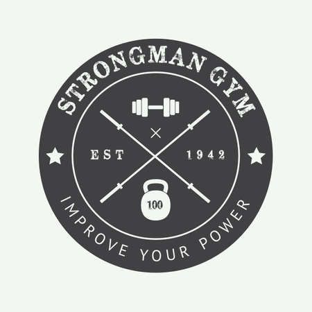 weightlifting: Vintage gym logo, badge or emblem. Vector illustration Illustration
