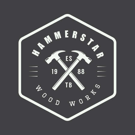 hammers: Vintage carpentry and mechanic vector label, emblem and logo