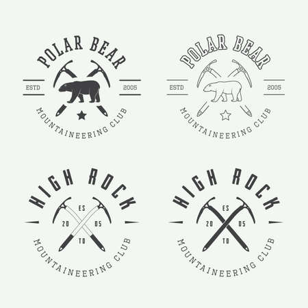 polar: Vintage arctic mountaineering logos, badges, emblems and design elements. Vector illustration