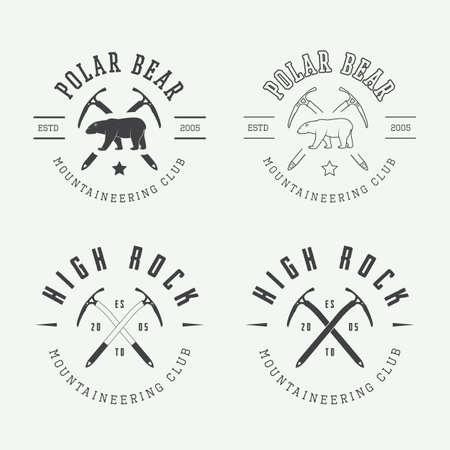 oso blanco: Vintage logotipos montañismo árticas, insignias, emblemas y elementos de diseño. Ilustración vectorial Vectores