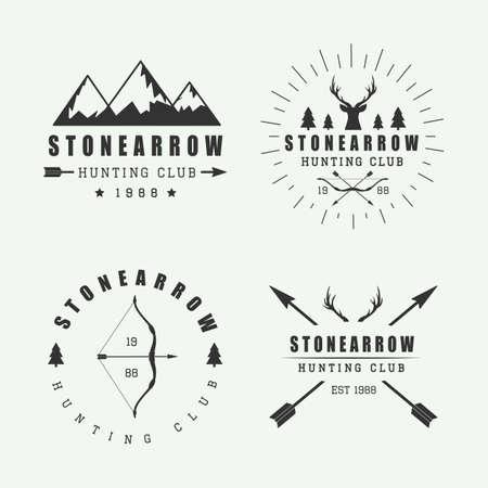 logo de comida: Conjunto de la vendimia de caza etiquetas, logotipos e insignias