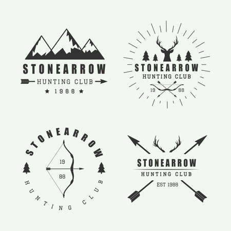 camp: Set of vintage hunting labels, logos and badges Illustration