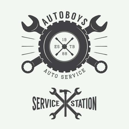 mecanico automotriz: Vintage mecánico sello, emblema y logotipo. Ilustración vectorial