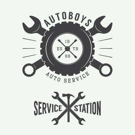 tire: Vintage mechanic label, emblem and logo. Vector illustration