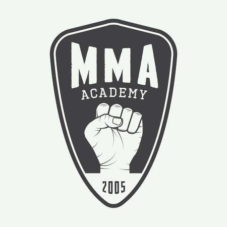Vintage mixte arts martiaux logo, badge ou emblèmes. Vector illustration Banque d'images - 45345923