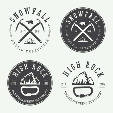 mountaineering: Vintage mountaineering logos, badges, emblems. Vector illustration