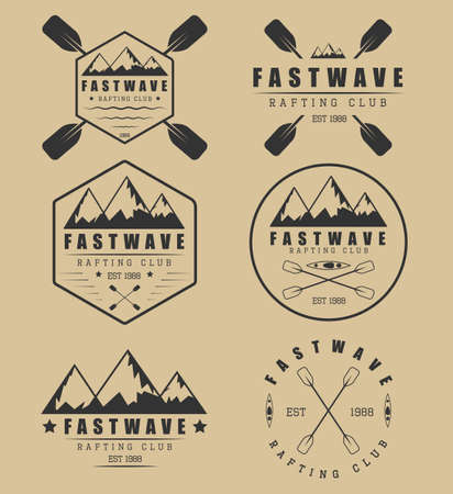 kayaking: Set if vintage rafting logo, labels and badges