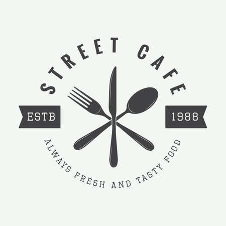 logo de comida: logotipo de restaurante vintage, insignia o emblema. Ilustración vectorial
