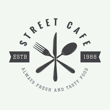 vintage restaurant logo, badge or emblem. Vector illustration Çizim