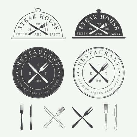 Set Weinlese Restaurant Vektor-Logo, Abzeichen und Wappen
