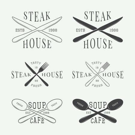 logo de comida: Set of vintage restaurant vector logo, badge and emblem