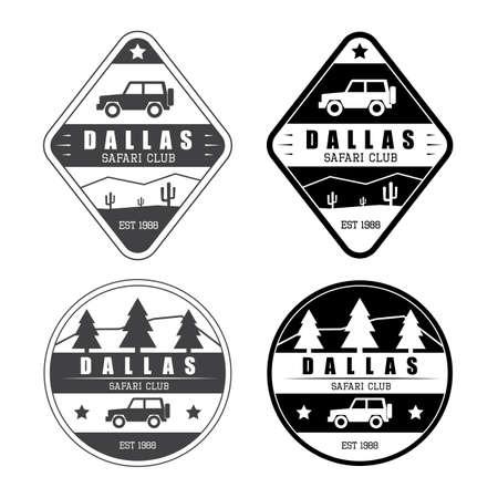 Set of safari club logo in vintage style Banco de Imagens - 45345934