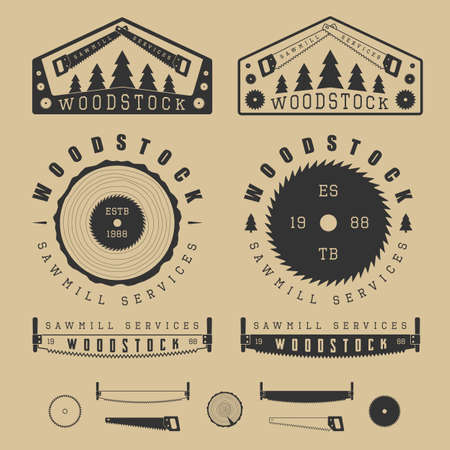 Set of vintage sawmills labels, emblems, logo, badges and design elements Illustration