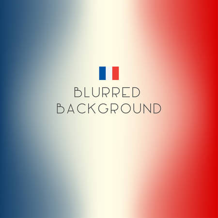 red and white: Blurred color France flag background. Vector illustration.