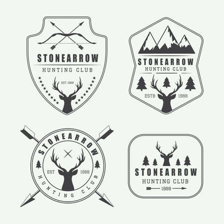 camping tent: Set of vintage hunting labels, logos and badges Illustration