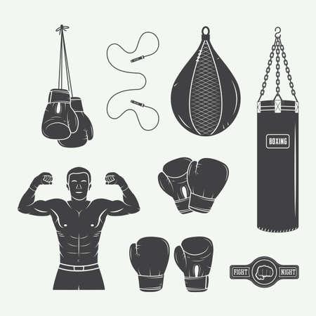 guantes de boxeo: Boxeo y artes marciales logo insignias, etiquetas y elementos de diseño de estilo vintage. Ilustración vectorial
