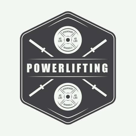 powerlifting: Gym logo in vintage style. Vector illustration. Vector illustration