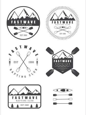 kayak: Set if vintage rafting logo, labels and badges,