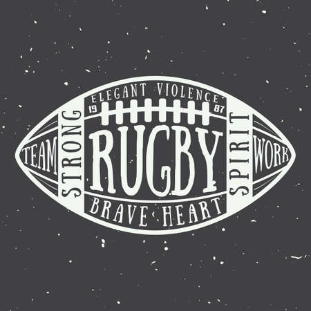 brave of sport: Rugby or american football ball with typography. Vector illustration with lettering