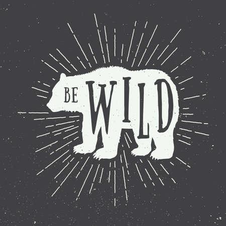 eslogan: Oso del vintage con el lema. Ilustración vectorial Vectores